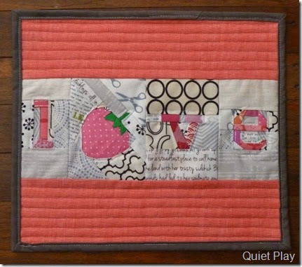 Strawberry Love mini quilt
