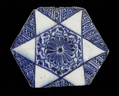 Tile | Origin: Syria | Period:  circa 1430 | Collection: The Madina Collection of Islamic Art, gift of Camilla Chandler Frost (M.2002.1.50) | Type: Ceramic; Architectural element, Fritware, underglaze-painted, 6 5/8 x 8 in. (16.82 x 20.32 cm)