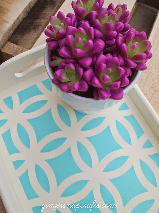 stencil tray with a succulent