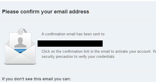 Confirmacion de correo en box.net