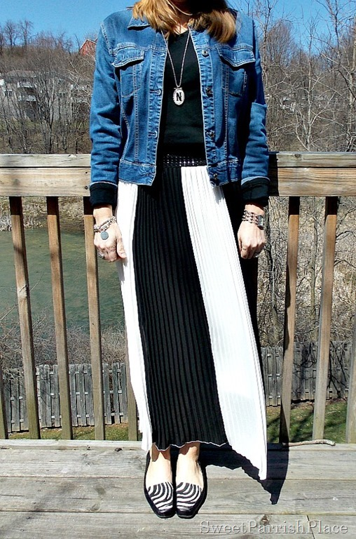 black and white striped maxi skirt, black shirt, Denim jacket, zebra flats2