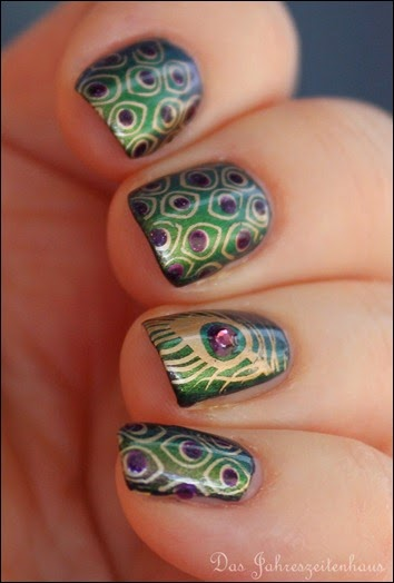 Peacock Nails Stamping Pfauenfeder 5