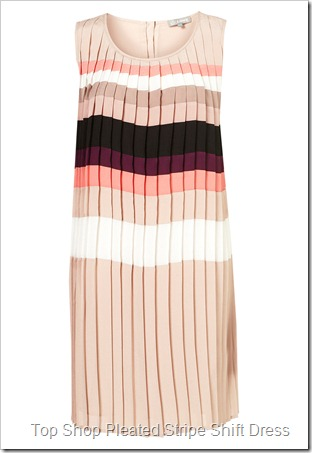 Pleated Stripe Shift Dress by Love TOP SHOP