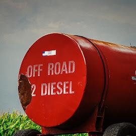Tractor Fuel by David Kreutzer - Transportation Other ( grey sky, diesel fuel, tractor, farming )