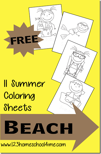 Beach Free Summer Coloring Sheets for Kids