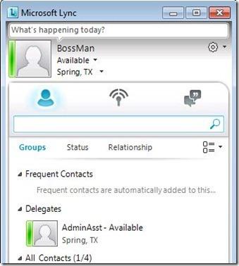 Lync Delegate - client BossMan