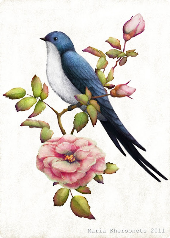 a swallow on a branch of wild rose by Maria Khersonets 5-7 inch