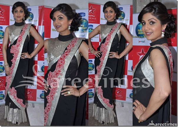 Shilpa_Shetty_Black_Anamika_Khanna_Saree