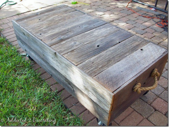 diy factory cart style coffee table 7