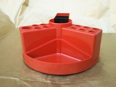Red plastic pen holder by Tecnostyl