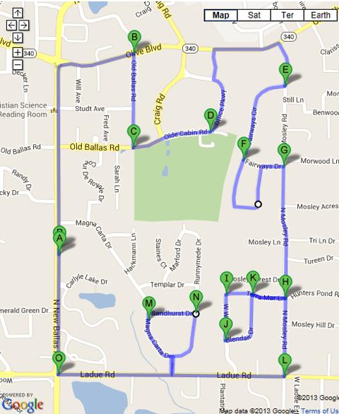 Creve Coeur 10K Race Route