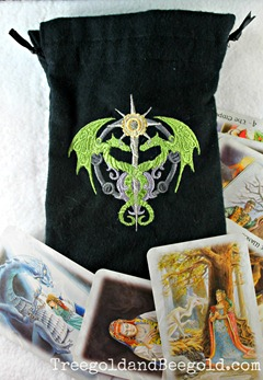 Steampunk Dragon Embroidered Tarot or Rune bag by Treegold and Beegold