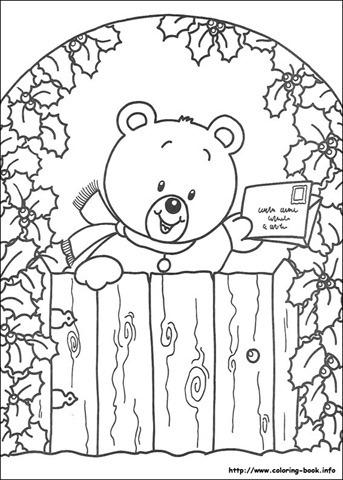 Desenhos de ursinhos no natal para colorir