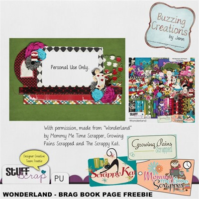 Mommy Me Time scrapper - Wonderland - Brag Book Page Freebie Preview
