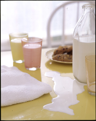 Wiping up spills while they're fresh makes them easier to remove.