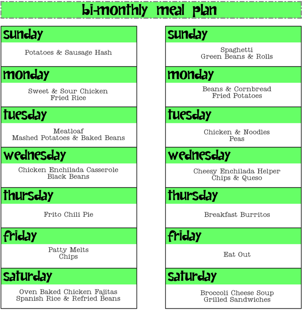 Jan 20-Feb 2 Meal Plan