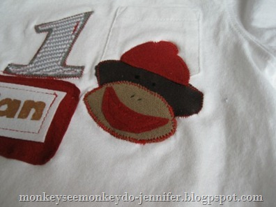 first birthday bib and sock monkey shirt (25)
