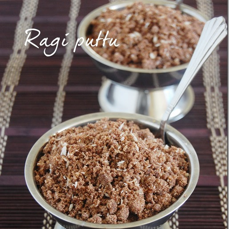Ragi puttu with palm jaggery