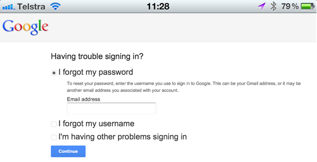 Starting a password reset on Google