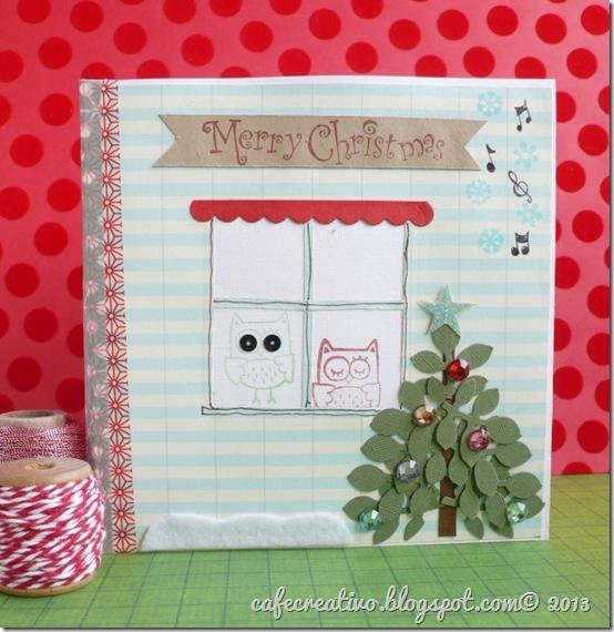 cafecreativo - Natale - card cd tree - biglietto albero gufetti