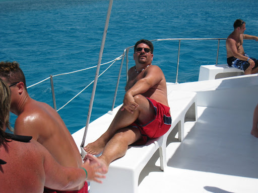 Andy striking a provocative pose on the catamaran ride back from Saona Island