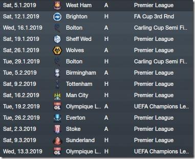 Next matches