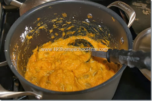 cooking the pumpkin to make pumpkin goop
