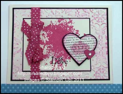 extreme elements, cas, card , valentine, sharon field, suo, stampin up, createdbyu_Blogspot