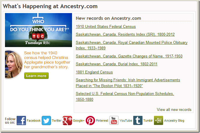 The What's Happening at Ancestry.com section of the home page