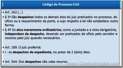 Art. 162,§3º e 4º; Art. 189,I; Art. 504 do Código de Processo Civil - CPC, que dispõem sobre os despachos, os despachos de expediente e os despachos de mero expediente.