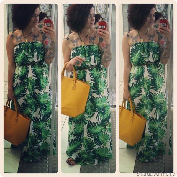 look vestido longo verde com estampa tropical e bolsa amarela (5)