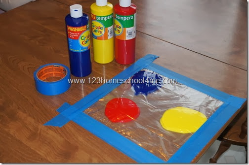 Paint in a bag for babies and toddler kids activity