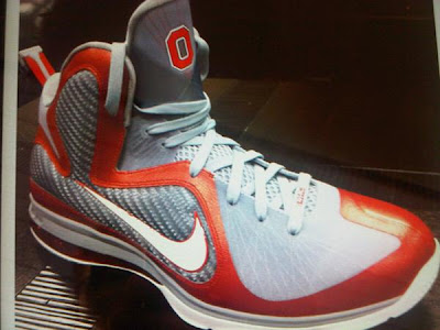 nike lebron 9 pe ohio state grey 1 01 First Look: Nike LeBron 9 Ohio State Player Exclusive