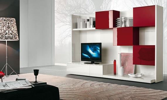 Mueble de TV rojo, blanco y negro