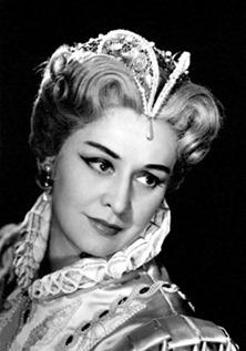 Soprano Sena Jurinac as Elisabetta in Verdi's DON CARLO