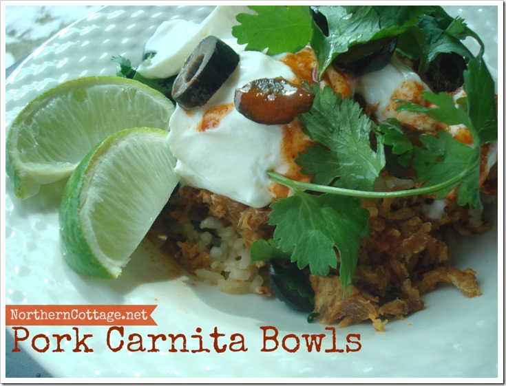 Pork Carnita Bowls @NorthernCottage.net