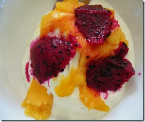 Dragon fruit mango yoghurt