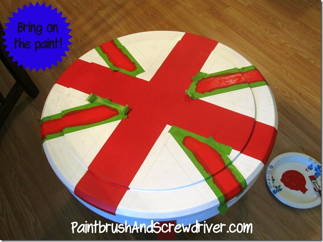 Union Jack Round Table Red Paint