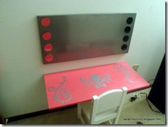 Finished desk with magnetic board