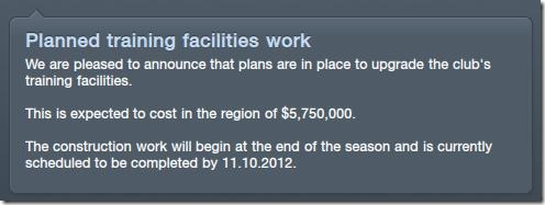 Training facilities will be upgraded