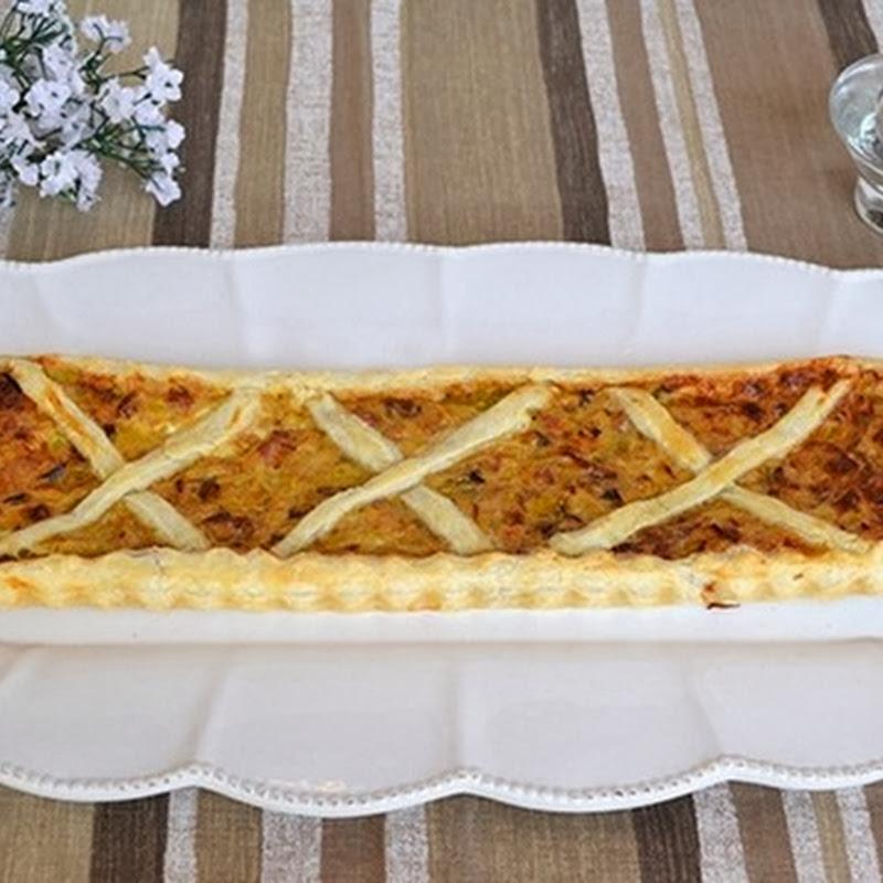 Πίτα με πράσο και μπέικον