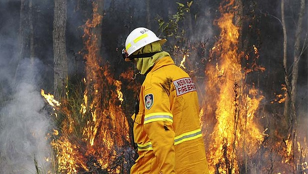 A member of the New South Wales Rural Fire Service burns underbrush to prepare for the most dangerous bushfire threat in 12 years, 6 January 2013. Fifty per cent of households have a member who intends to stay and defend. Mick Tsikas / Sydney Morning Herald