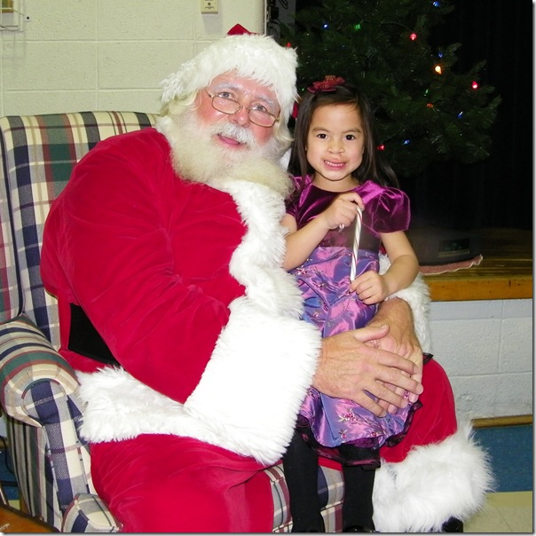 She even stood in line to sit on Santa's lap