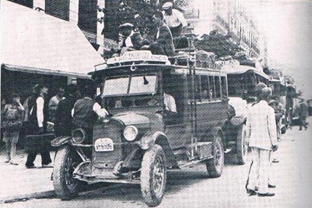 Calle de Xàtiva. Autobús línea Valencia-Beniganim. 1930