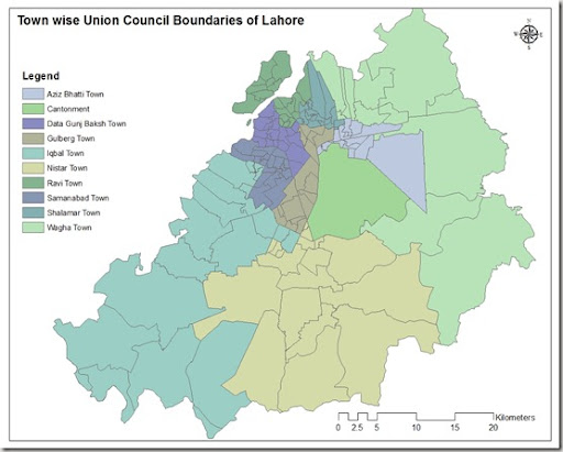 Town wise Union Council Boundaries of Lahore Pakistan GIS