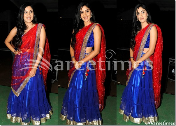 Dhanya_Red_Blue_Half_Saree