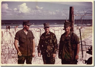 Russ Ford Capt Gasser Steve Cox on east side of DaNang at ocean summer 1969