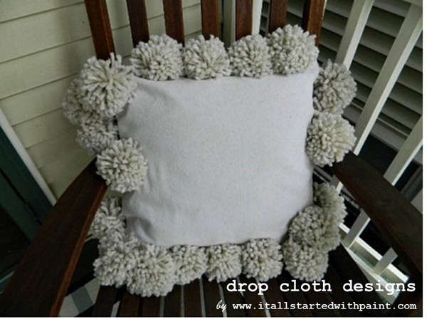 Pom Pom Drop Cloth Pillow 2