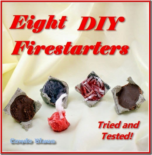 eight recycled homemade fire starters