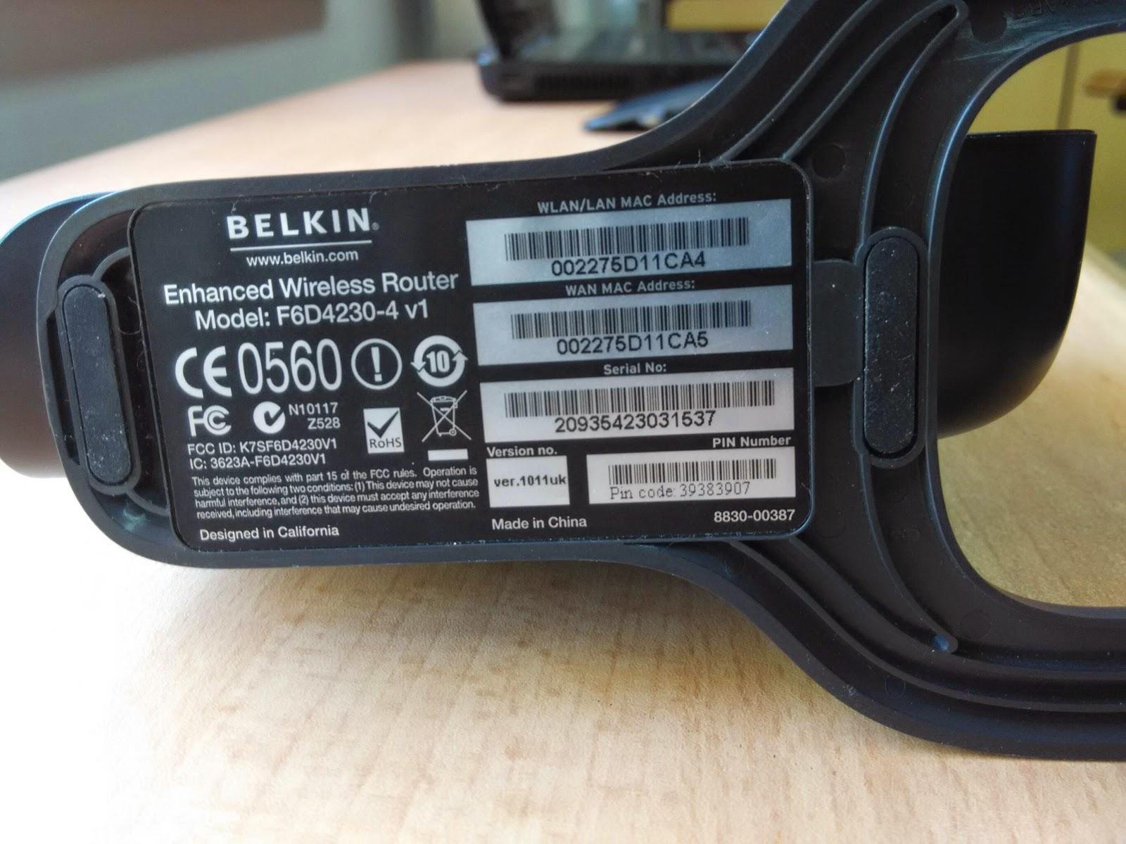 Belkin f6d 4 wireless router